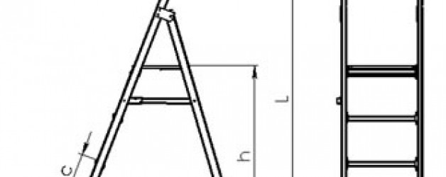 Стремянка стеклопластиковая с симметричной опорой с широкими ступенями ССС-Ш «ЛУЧ»